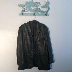 Alfani    men's black leather jacket